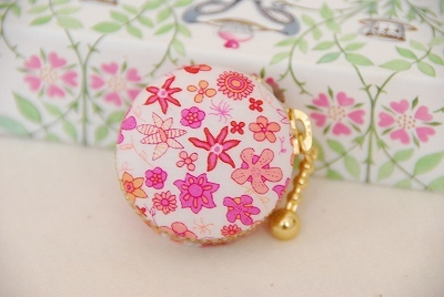 【sold out】【リバティ】マカロンポーチ 花柄ピンクver.