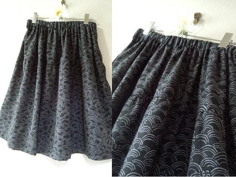 和柄シリーズ 手描き青梅波柄のティアードスカート