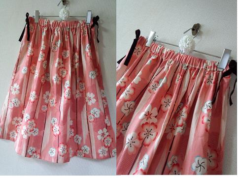 和柄シリーズ 梅柄のおしゃれなスカート