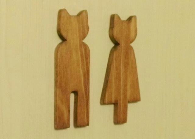 木製ネコ型トイレサイン☆トイレピクト☆チェリー