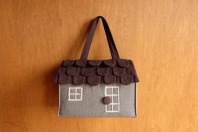 OUCHI box bag L  黒白ストライプ