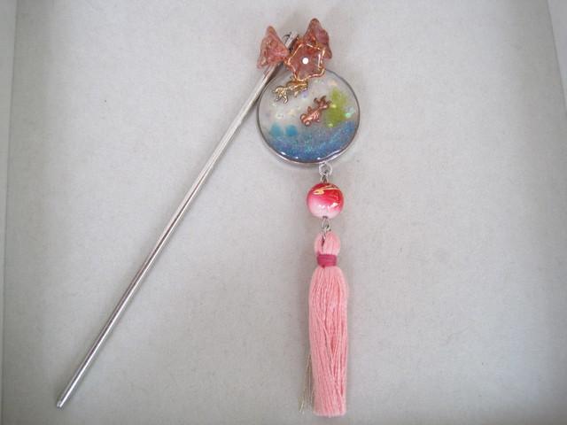 UVレジンの簪(金魚と花)