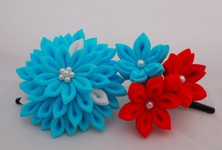 水色花飾りセット つまみ細工