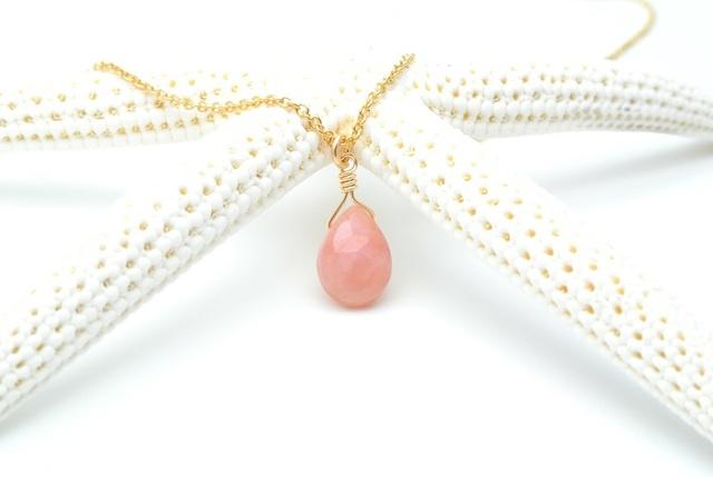 再販【14kgf】ピンクオパール(ペアシェイプ)のネックレス