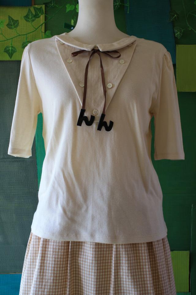 オーガニックコットン 台襟付きTシャツ オフ白