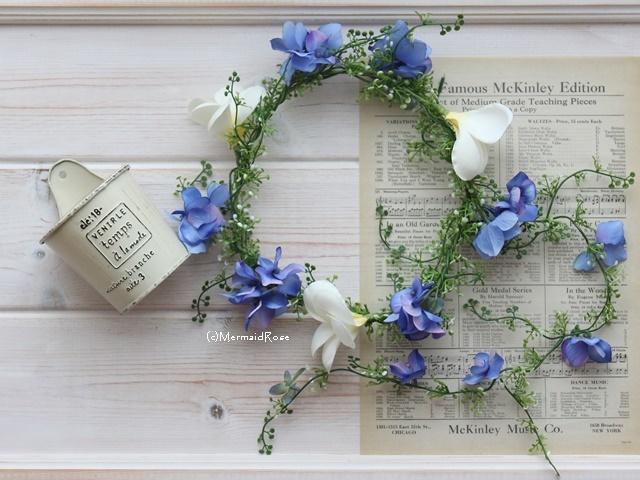 花冠プルメリア&ハイドランジア?BLUE*バックガーランド付