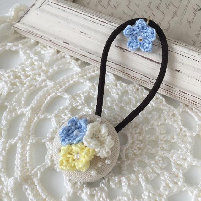 かぎ針編み*お花いっぱいくるみぼたんヘアゴム