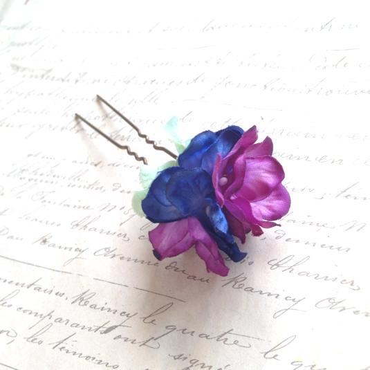 しっとりとブルーパープルの紫陽花かんざし