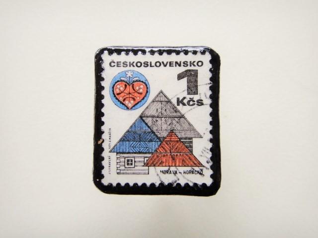 チェコスロバキア 切手ブローチ1290