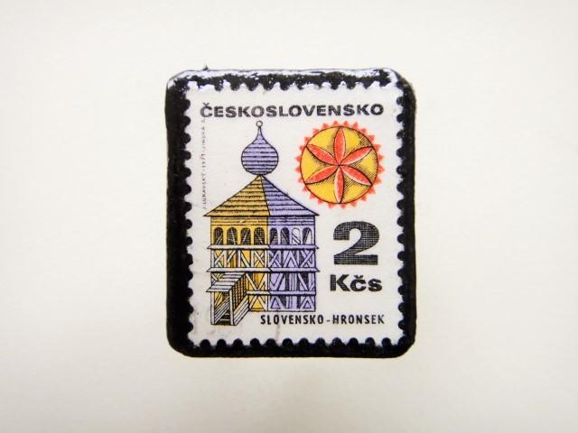チェコスロバキア 切手ブローチ1291
