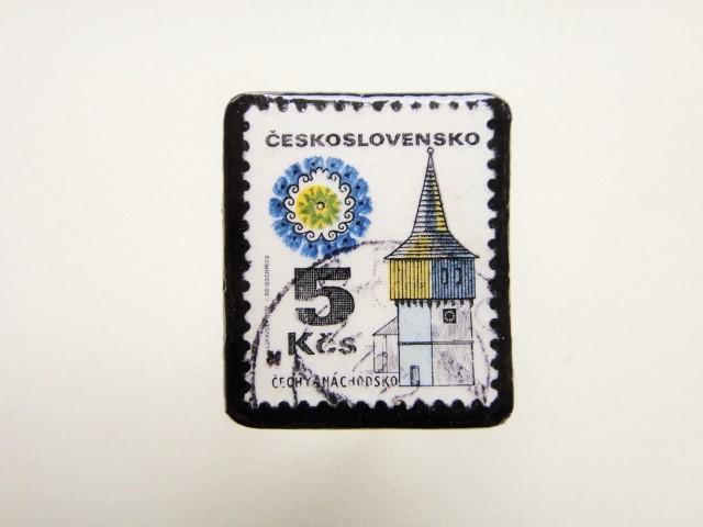 チェコスロバキア 切手ブローチ1293