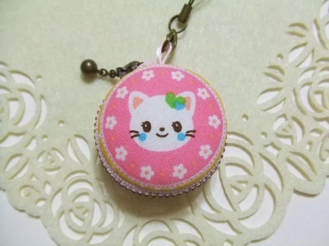 猫/ピンク系/マカロンコインケース4cm(マカロンポーチ)ストラップ付