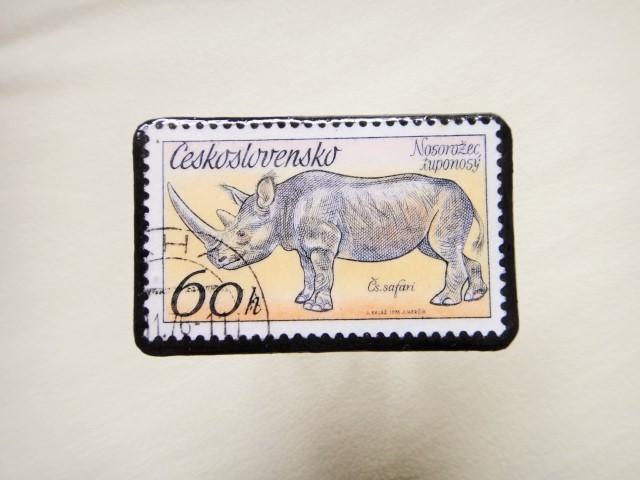 チェコスロバキア 切手ブローチ1296