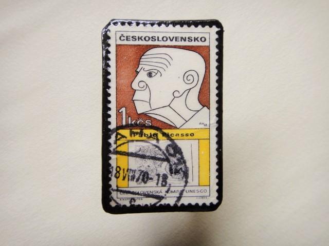 チェコスロバキア 切手ブローチ1304