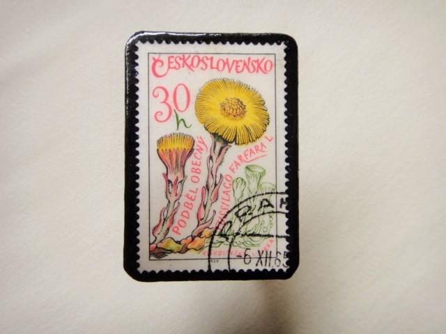 チェコスロバキア 切手ブローチ1305