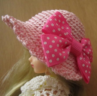 【SALE】ストローハット風のドール用のお帽子【Bigリボン?S57】