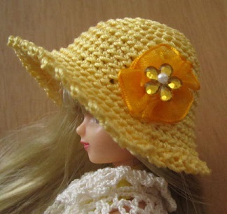 【帽コレ2016summer】ストローハット風のドール用のお帽子【元気オレンジS61】