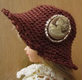 【SALE】ストローハット風のドール用のお帽子【チョコレートカメオS64】