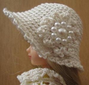 【帽コレ2016summer】ストローハット風のドール用のお帽子【オフホワイトビーズ刺繍S66】