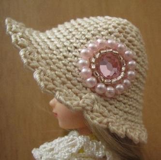 【SALE】ストローハット風のドール用のお帽子【ピンクのロゼットS69】