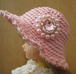 【帽コレ2016summer】ストローハット風のドール用のお帽子【ピンクのロゼットS71】