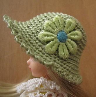 【SALE】ストローハット風のドール用のお帽子【グリーンデイジーS72】