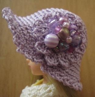 【SALE】ストローハット風のドール用のお帽子【紫のコラージュS77】