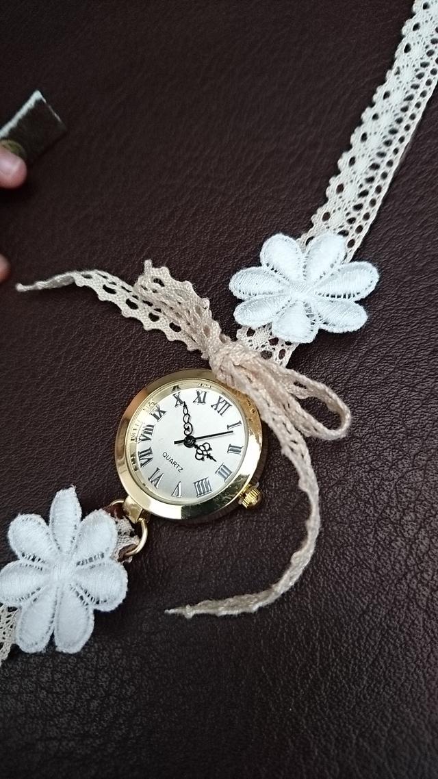 本革とレースのブレスウォッチ 腕時計 ブレスレット