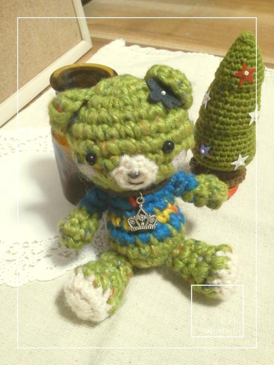 くまの編みぐるみ【緑】