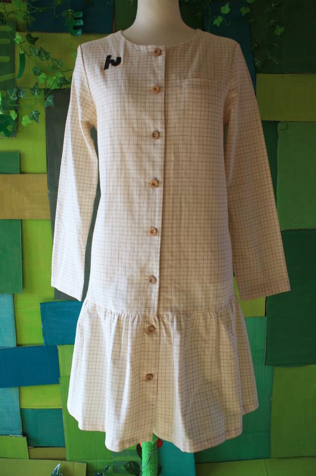 オーガニックコットン 襟なしシャツワンピ ビエラチェック