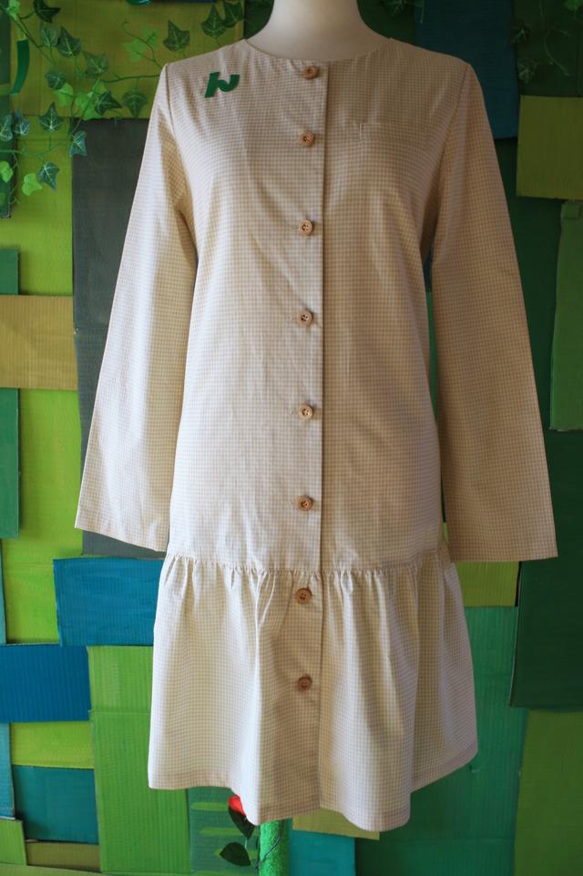 オーガニックコットン 襟なしシャツワンピ ギンガムチェック