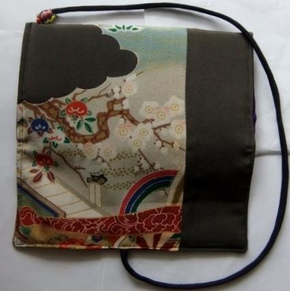 着物リメイク 泥染の色留袖で作った和風財布 1614