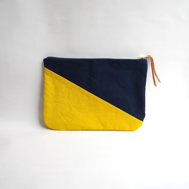 """<販売開始!>倉敷帆布のバイカラーポーチ""""Midnight blue × Mustard yellow"""""""""""