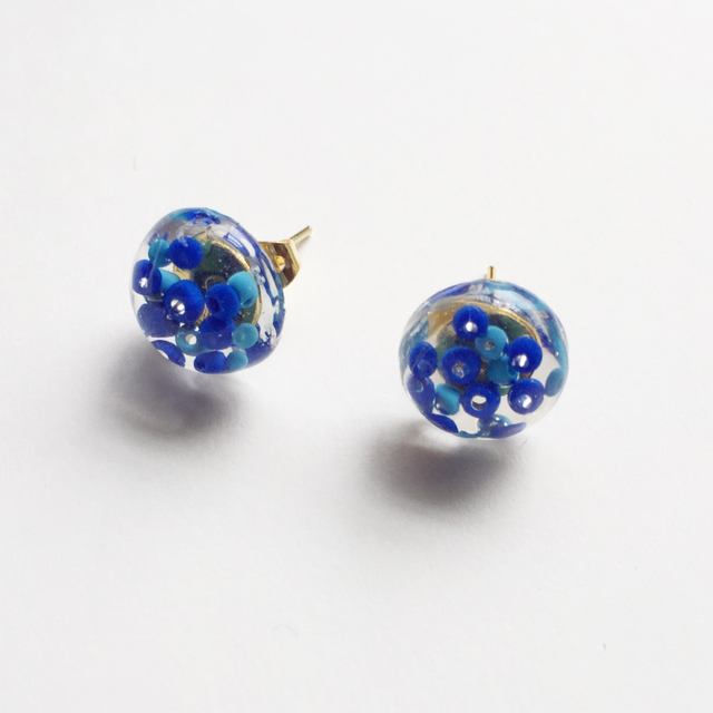 clear dome beads pierce 【Blue】