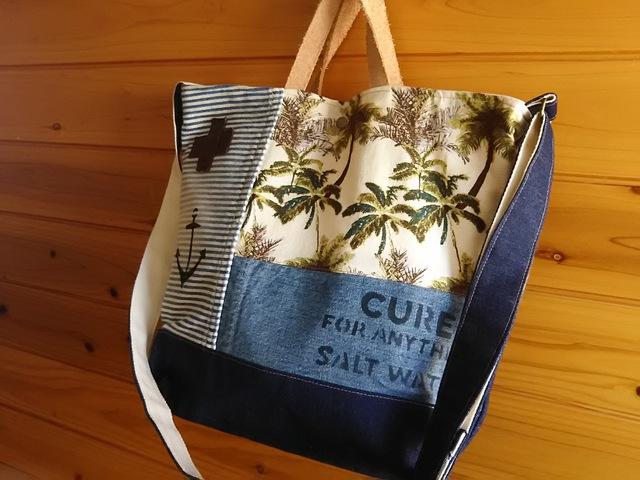 ☆sale☆ヤシの木の大きめ2wayバッグ