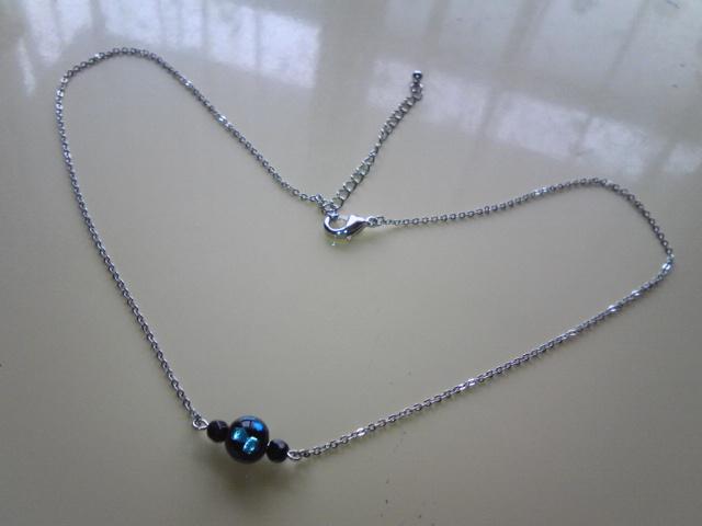 ほたる石(ガラス)とオニキスのネックレス