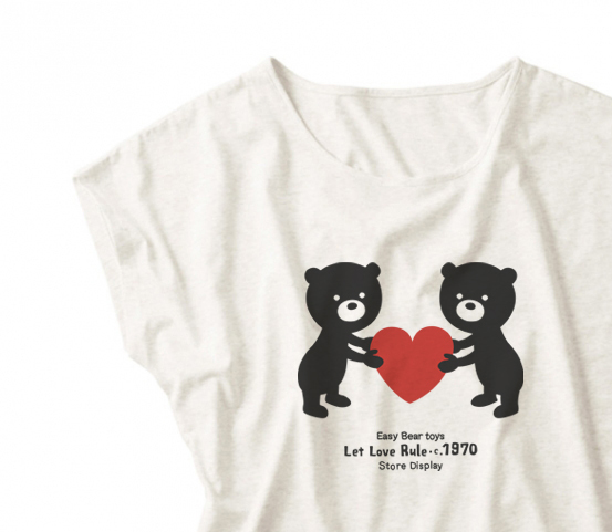 【注意!薄手生地】イージー☆ベア & ハート ドルマンTシャツ Mサイズ【受注生産品】