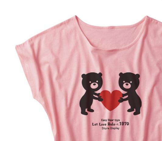 【注意!薄手生地】イージー☆ベア & ハート ドルマンTシャツ【受注生産品】