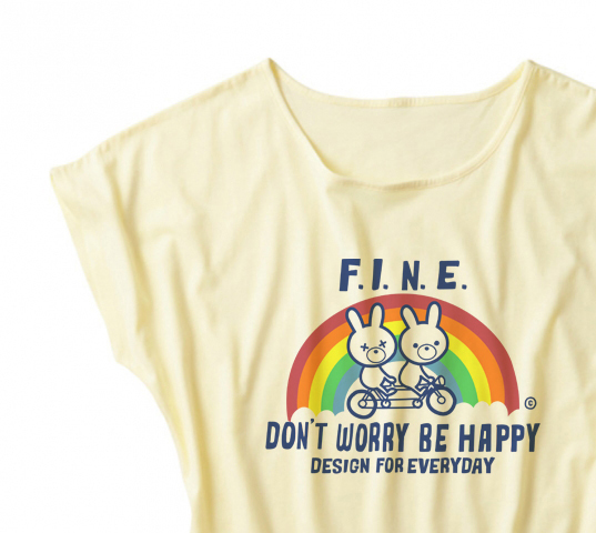 【注意!薄手生地】虹&アニマルズ〜Don't Worry Be Happy!〜 ドルマンTシャツ【受注生産品】