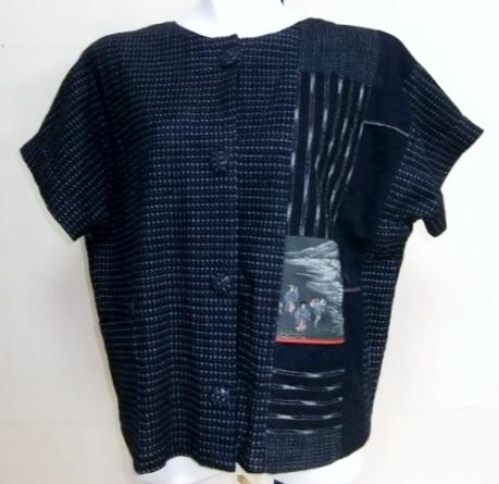着物リメイク 男絣で作った半袖ジャケット 1615