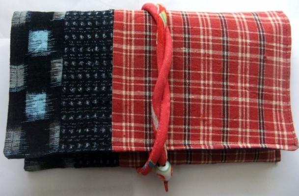 着物リメイク 土佐紬と絣で作った和風財布 1617