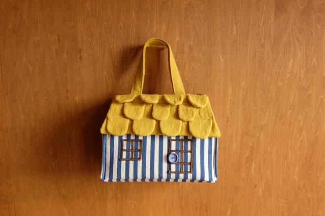 OUCHI box bag S ロング ブルーストライプ+yellow