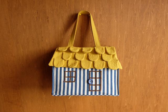 OUCHI box bag L  ブルーストライプ+yellow