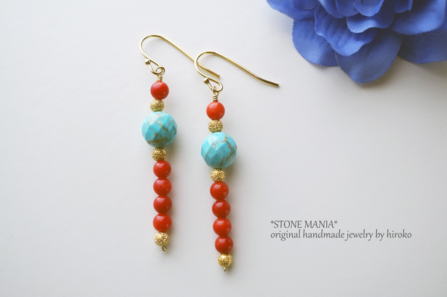 ?Hot Summer?Turquoise&Coral pierce?