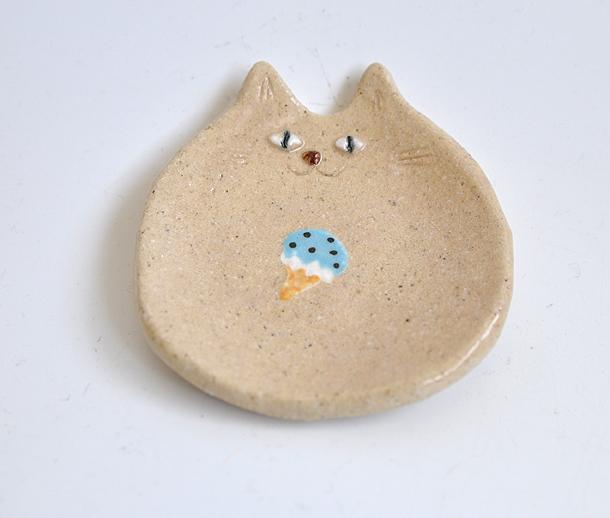 チョコミントの猫小皿