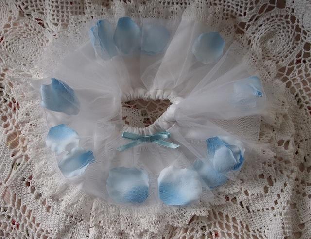 43?ぬいぐるみ用お洋服★お花のスカート(ロマンティックローズ/ブルー)