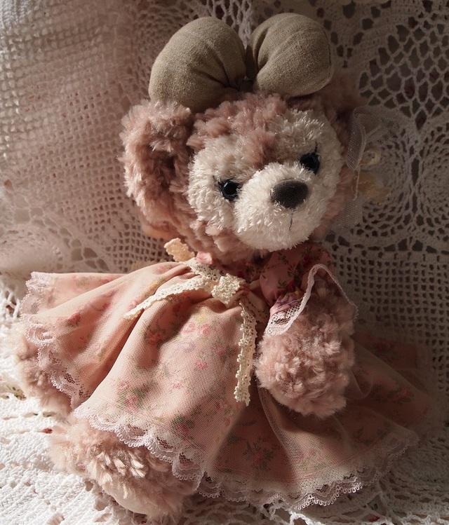 27センチぬいぐるみ用お洋服★お花柄ワンピース(ピンク)