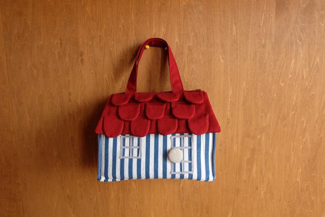 OUCHI box bag S ロング ブルーストライプ+red