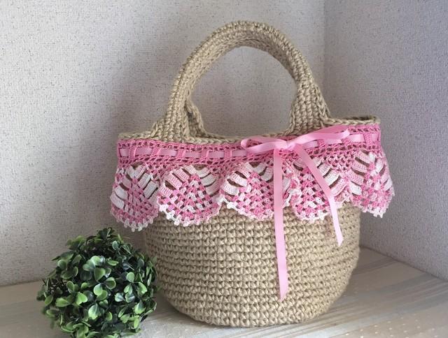 ♪お嬢様のかごバッグ ピンクのレース編みフリルとリボンで♪