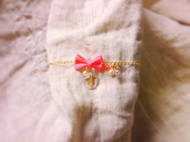 twinkle ribbon star ブレスレット(rose)